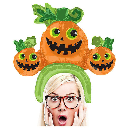 Nav Item for Air-Filled Jack-o'-Lanterns Balloon Hat, 15in Image #1