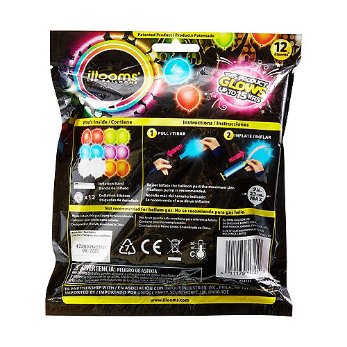 Illooms Light-Up Assorted Color LED Balloons 12ct, 9in Image #2