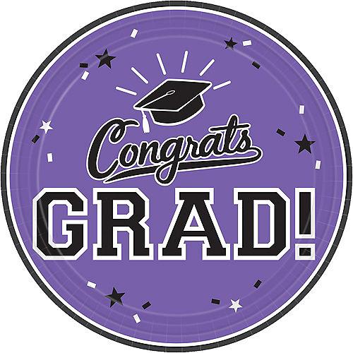 Purple Congrats Grad Lunch Plates 18ct Image #1