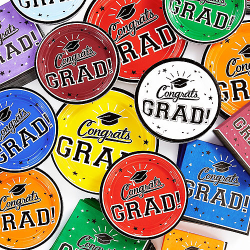 Red Congrats Grad Lunch Plates 18ct Image #2