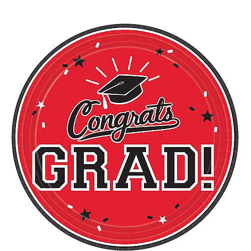 Red Congrats Grad Dessert Plates 18ct Image #1