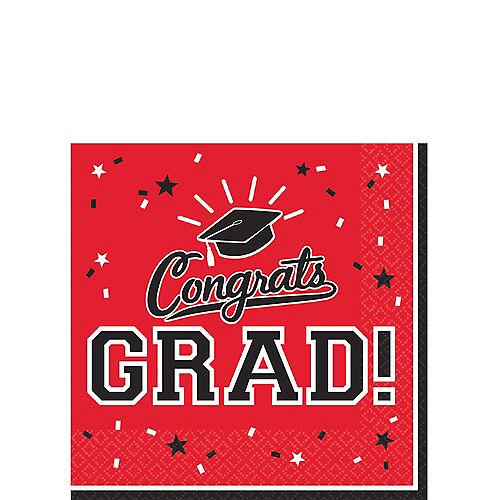 Red Congrats Grad Beverage Napkins 36ct Image #1