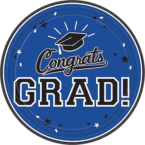 Blue Congrats Grad Lunch Plates 18ct Image #1