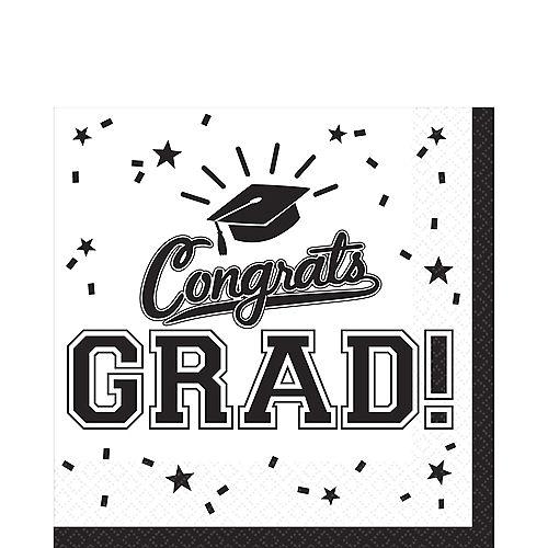 White Congrats Grad Lunch Napkins 36ct Image #1