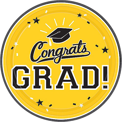 Yellow Congrats Grad Lunch Plates 18ct Image #1
