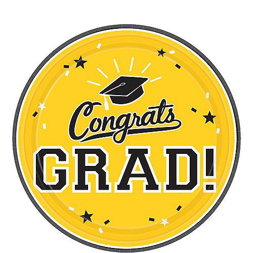Yellow Congrats Grad Dessert Plates 18ct Image #1