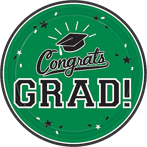 Green Congrats Grad Lunch Plates 18ct Image #1