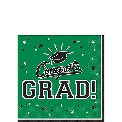 Green Congrats Grad Beverage Napkins 36ct Image #1