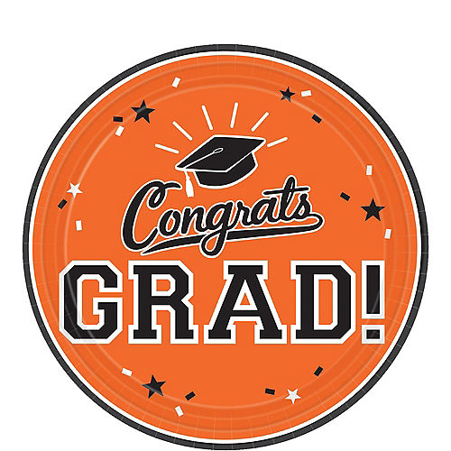 Orange Congrats Grad Dessert Plates 18ct Image #1