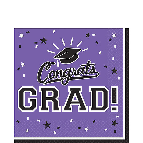 Purple Congrats Grad Lunch Napkins 36ct Image #1