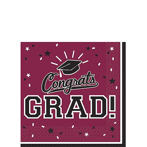 Berry Congrats Grad Beverage Napkins 36ct Image #1