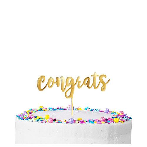Metallic Gold Congrats Cake Topper Image #1