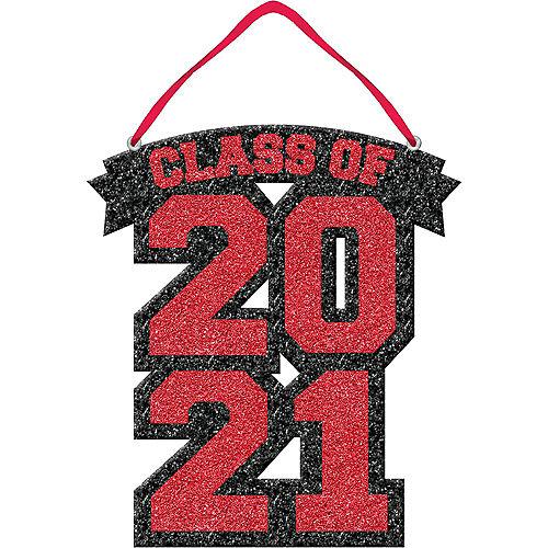 Glitter Red Class of 2021 Foam Graduation Sign Image #1