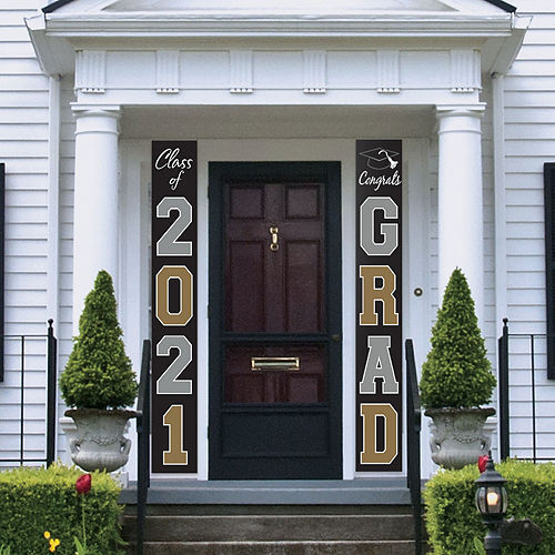 Black, Silver & Gold Graduation Banner Flags, 2ct Image #1