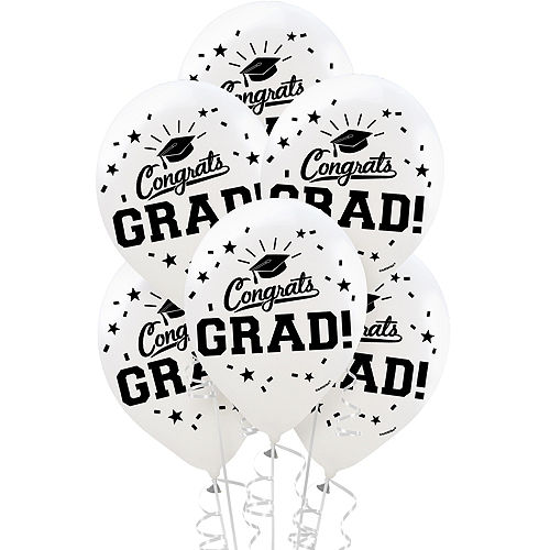 White Congrats Grad Balloons 15ct Image #1