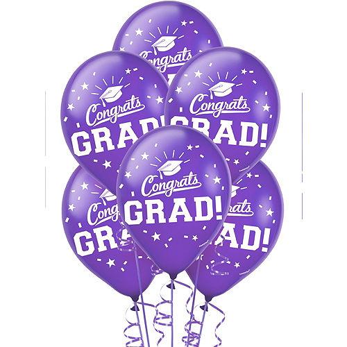 Purple Congrats Grad Balloons 15ct Image #1