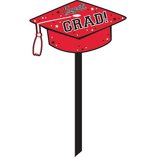 Red Congrats Grad Yard Sign Image #1