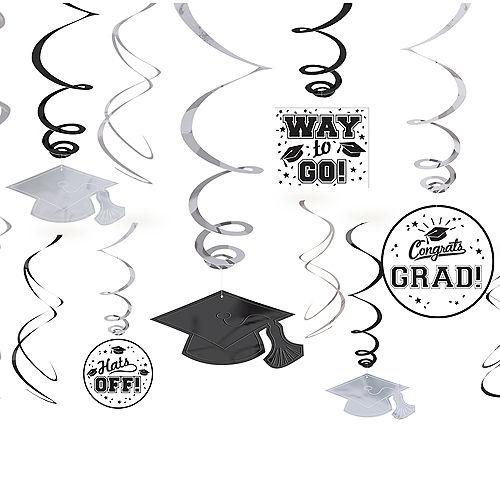 White Graduation Swirl Decorations 12ct Image #1