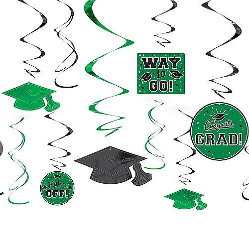 Green Graduation Swirl Decorations 12ct Image #1