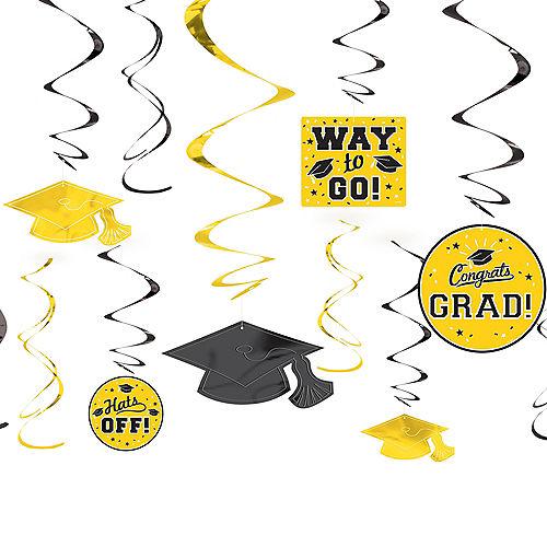 Yellow Graduation Swirl Decorations 12ct Image #1