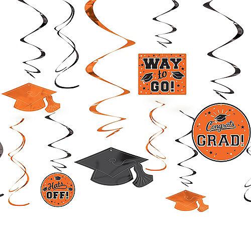 Orange Graduation Swirl Decorations 12ct Image #1