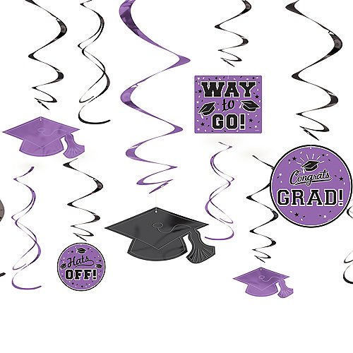 Purple Graduation Swirl Decorations 12ct Image #1