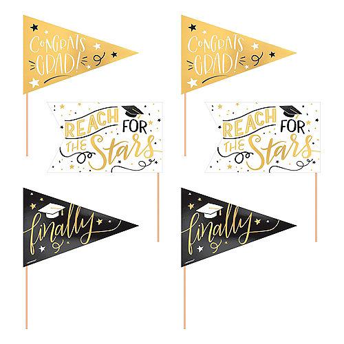 Metallic Gold Graduation Pennant Banners 6ct Image #1