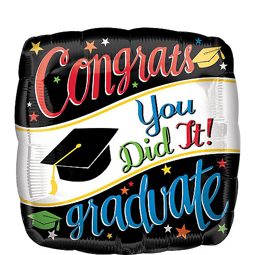 Colorful Congrats Graduate Balloon, 17in Image #1