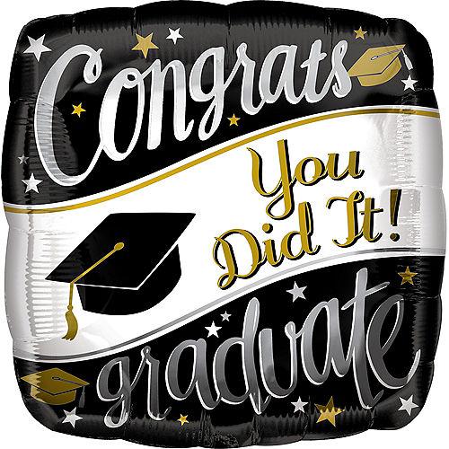Black, White & Gold Congrats Graduate Balloon, 17in Image #1