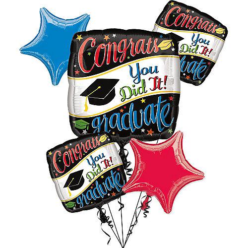 Colorful Congrats Graduate Balloon Bouquet 6pc Image #1