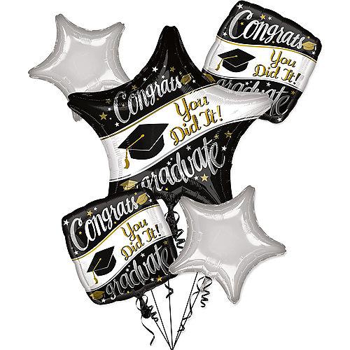 Black, White, & Gold Congrats Graduate Balloon Bouquet, 5pc Image #1