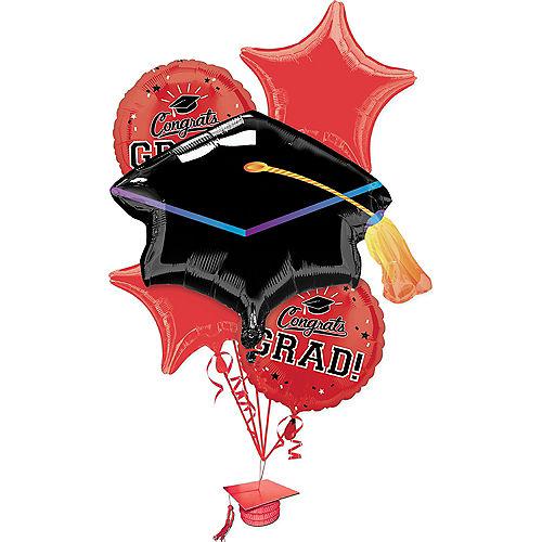 Red Congrats Grad Balloon Bouquet 6pc Image #1