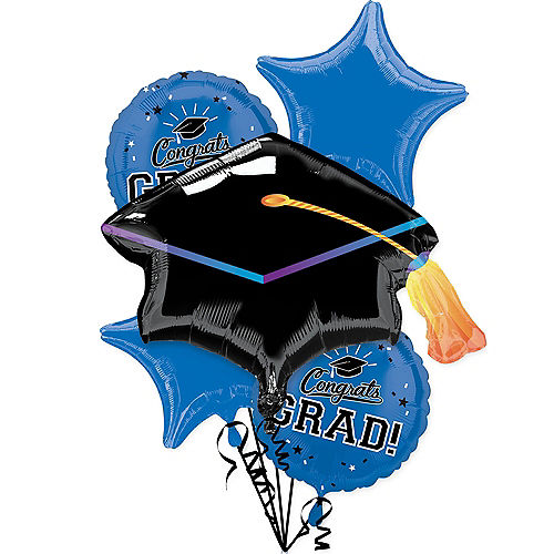 Blue Congrats Grad Foil Balloon Bouquet, 5pc Image #1