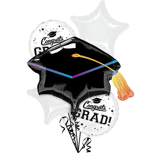 White Congrats Grad Foil Balloon Bouquet, 5pc Image #1