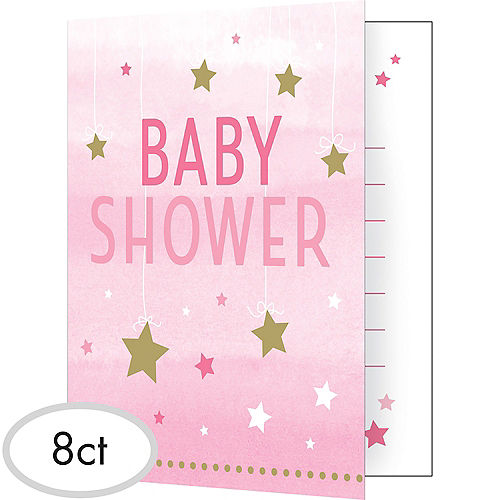 Pink Twinkle Twinkle Little Star Baby Shower Invitations 8ct Image #1