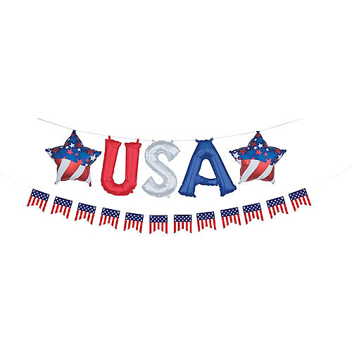 Air-Filled Red, White & Blue USA Letter Balloons with Pennant Banner, 13in Image #1