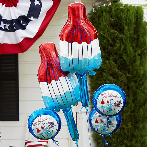 Giant Patriotic Red, White & Blue Ice Pop Balloon, 40in Image #2