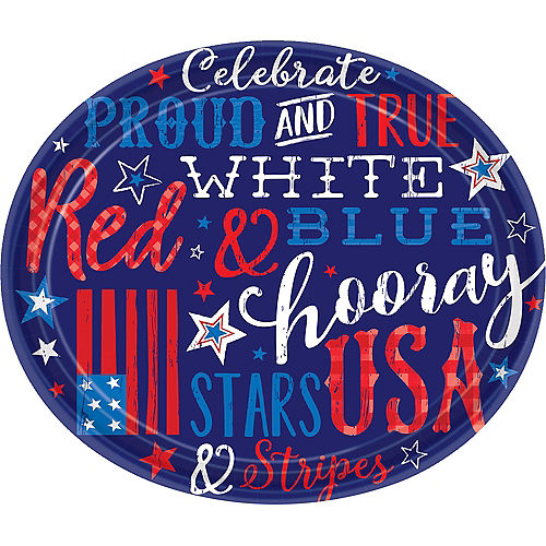 Patriotic Proud & True Oval Plates 18ct Image #1
