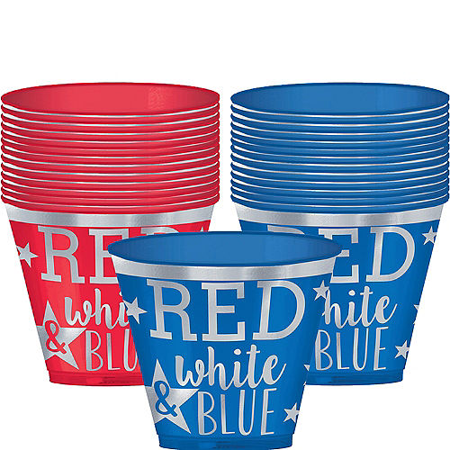 Nav Item for Metallic Patriotic Red, White & Blue Plastic Cups 30ct Image #1