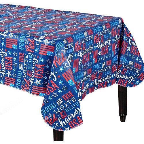 Patriotic Proud & True Flannel-Backed Vinyl Tablecloth Image #1