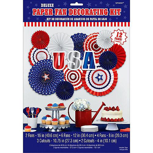 Patriotic Red, White & Blue Paper Fan Decorating Kit 17pc Image #2