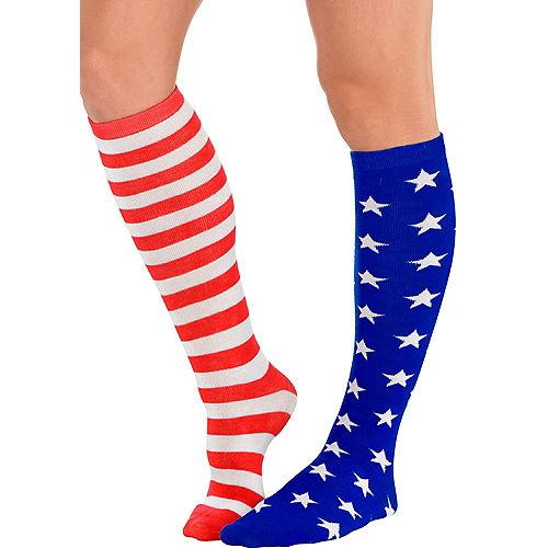 Patriotic American Flag Knee Socks Image #1