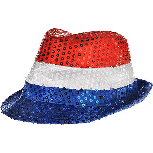 Light-Up Sequin Red, White & Blue Fedora Image #1