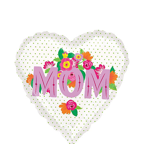 Colorful Flowers Mother's Day Heart Balloon Image #1