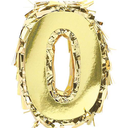 Mini Metallic Gold Number 0 Pinata Decoration Image #1