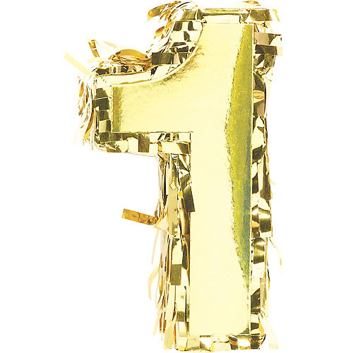 Mini Metallic Gold Number 1 Pinata Decoration Image #1