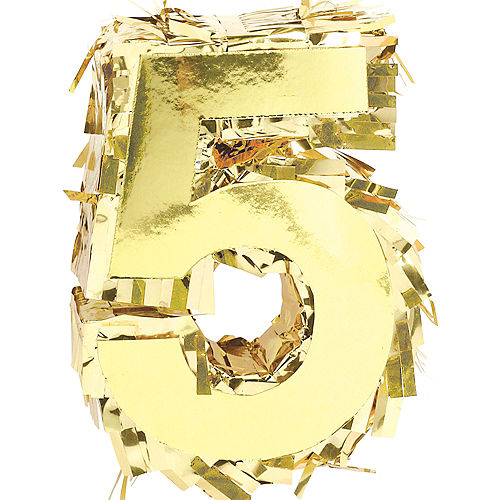 Mini Metallic Gold Number 5 Pinata Decoration Image #1