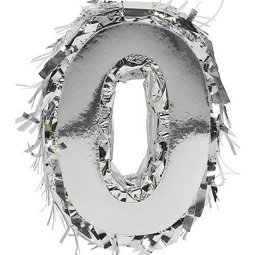 Mini Metallic Silver Number 0 Pinata Decoration Image #1