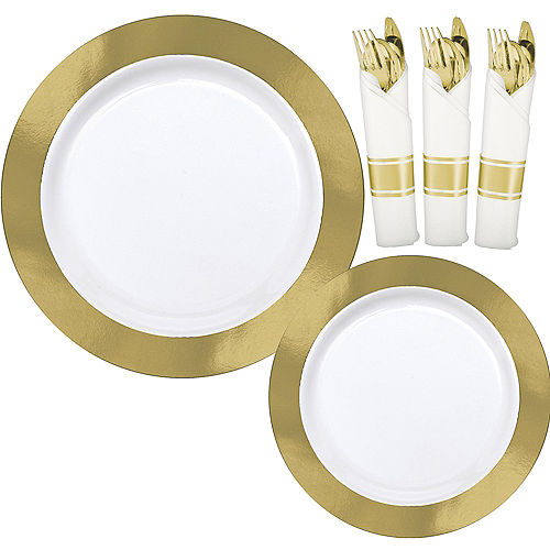 Premium Gold Border Tableware Kit for 20 Guests Image #1