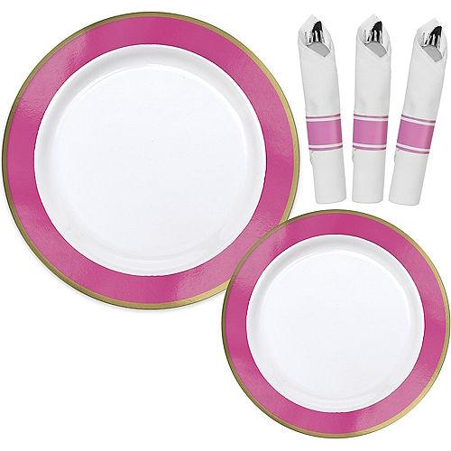 Premium Bright Pink Border & Gold Tableware Kit for 20 Guests Image #1